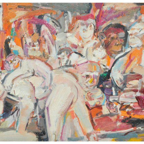 happy family.monkey 1,2015.34x41cm.oil on canvas.rm2800