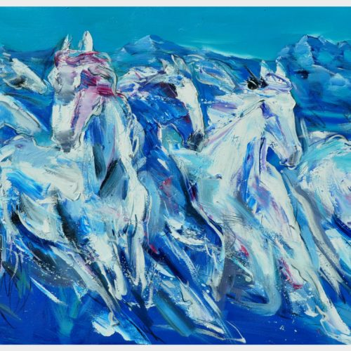 transform sereis -blues horses ,83x138cm,oil on canvas,2015.rm10800